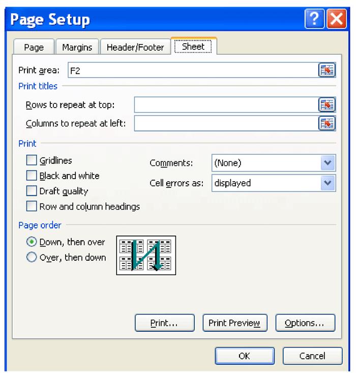 تنظیمات صفحه در اکسل