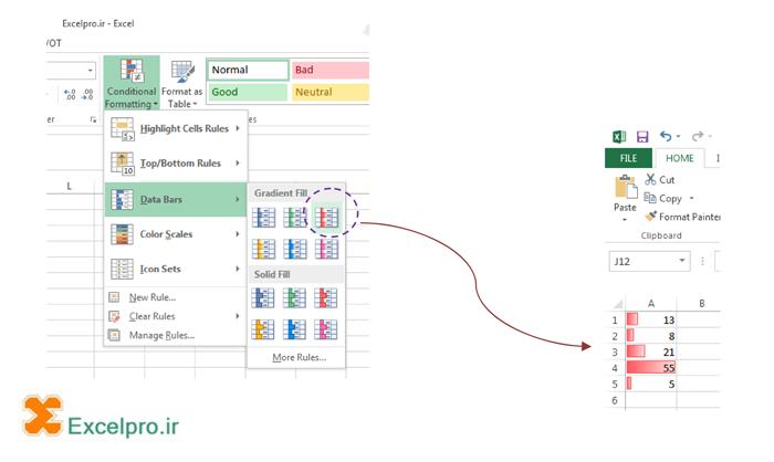 نمونه Data Bar